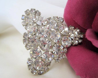 Rhinestone Brooch - Clear Stone Triangle - Dome Shaped Pin