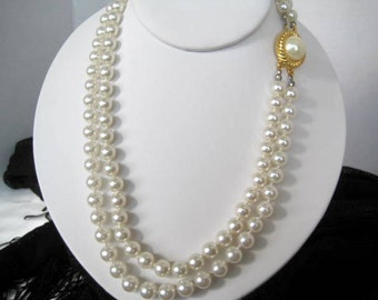 Pearl Imitation Necklace-  2 Strand - Lovely Clasp- Wedding Necklace