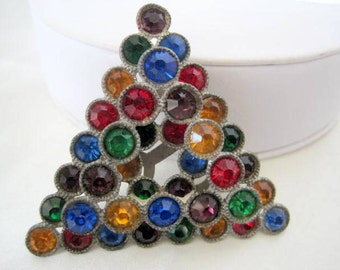 Art Deco  Dress Clip - Multicolor Rhinestone -  Layered Pin