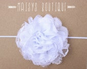 75% Off- White Lace Flower Headband/ Newborn Headband/ Baby Headband/ Flower Girl/ Wedding/ Photo Prop