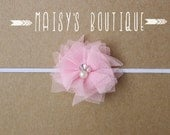 75% Off Light Pink Beaded Tulle Flower Pink Headband/ Newborn Headband/ Baby Headband/ Flower Girl/ Wedding/ Photo Prop