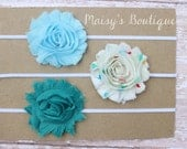 Set of 3- Love Heart Print Light Blue and Teal Flower Headband Set/ Headband/ Newborn Headband/ Baby Headband/ Wedding/ Photo Prop