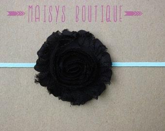 75% Off- Black Aqua Flower Headband/ Newborn Headband/ Baby Headband/ Photo Prop