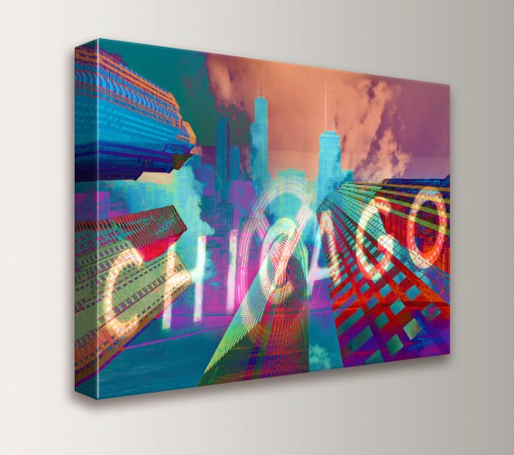 """Chicago Art - Canvas Print - Archival Digital Print - Downtown Chicago - Red Teal and Purple Art Collage - Mixed Media -"""" Chi-Town """""""