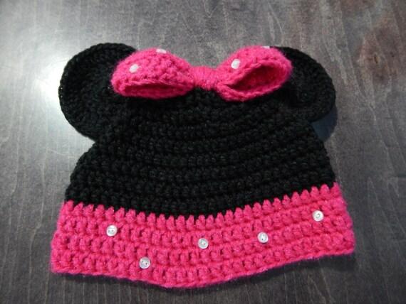Minnie Mouse Crochet Hat Pattern Child : Crochet Pattern for Deluxe Minnie Inspired Hat for Child 4 ...
