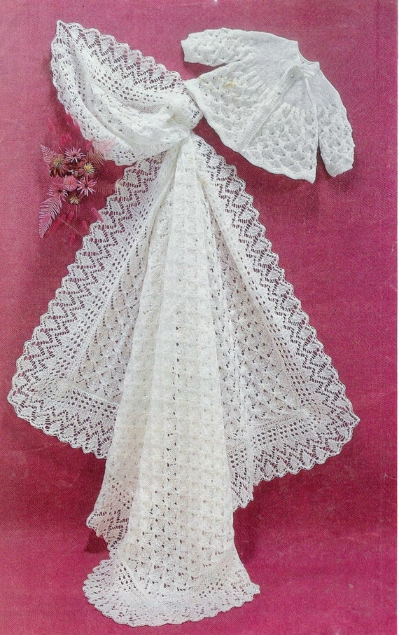 Crochet Patterns Christening Shawls : Baby Matinee Jacket and Christening Shawl instructions for