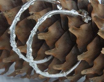 Silver Twig Hoop Earrings