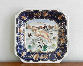 Vintage Porcelain Dish Small Square Tray Horse Jumping Riding Equetsrian Scene Preppy Hamptons Decor