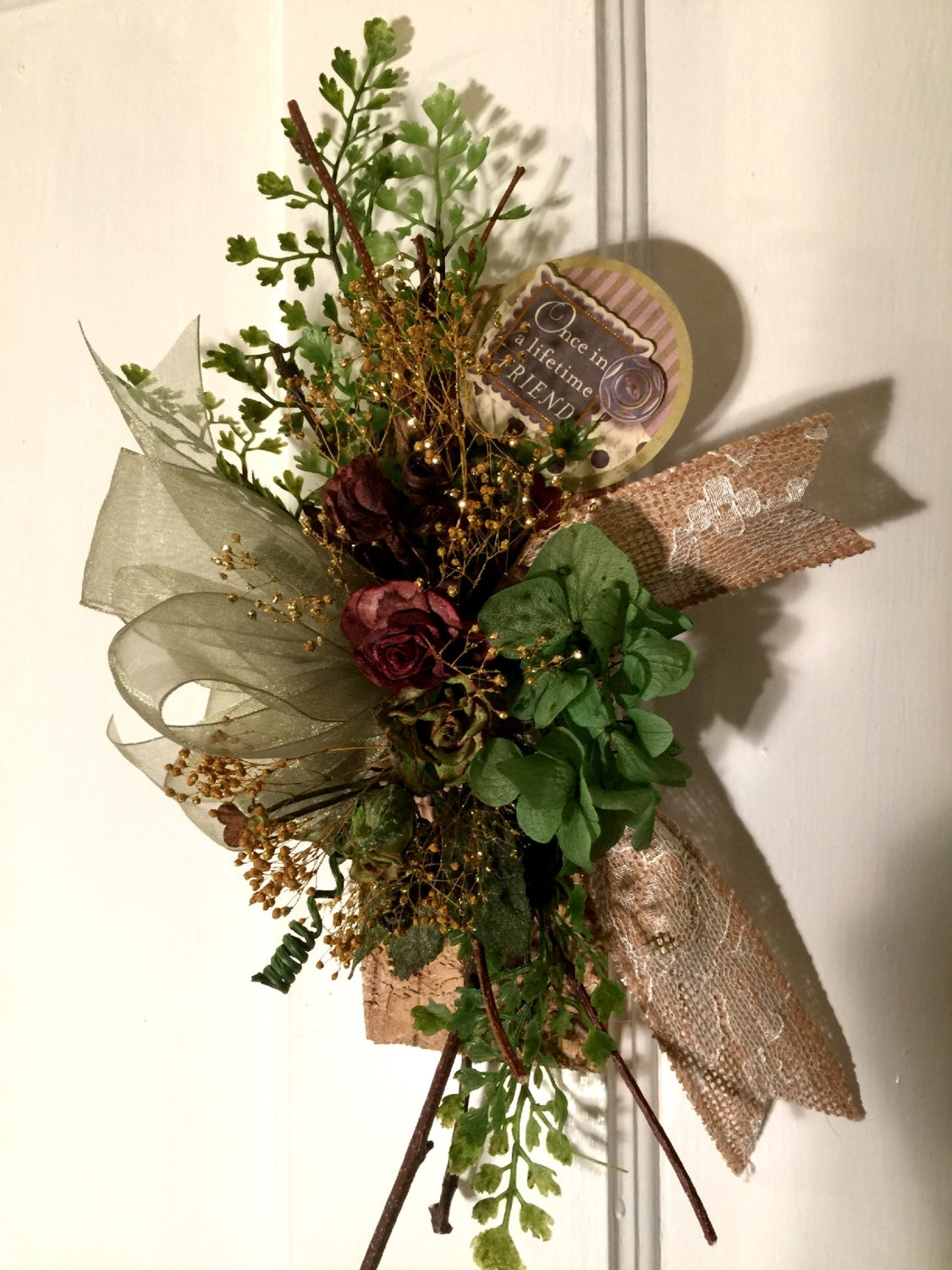 Small Floral Arrangement Wall Decor Birch Wood Burlap