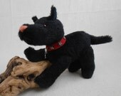 Darin an OOAK Black Alpaca Dog Hand-crafted Jointed Black Dog