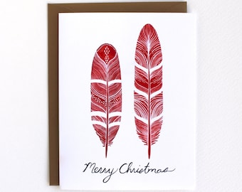 Holiday Card - Christmas Card - Feather Greeting Card - Red and Gold Card