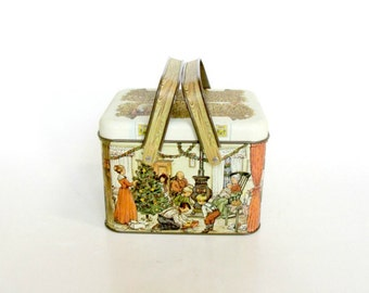 Potpourri Press Collectors Holiday Christmas Tin Box with Two Handles, Advertising Family Christmas Tin Canister
