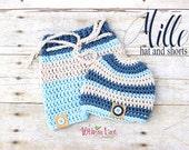 Newborn Photo Prop - Crochet Hat and Shorts Set - Stripe Shorts Set - Baby Boy - Newborn Boy - Beach Baby