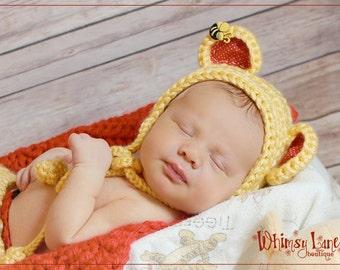 Newborn Pooh Inspired Bear Bonnet - Photography Prop