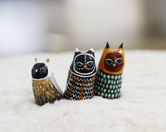 Owl Studies 19, 20, 21 / Great Horned Owl Totem / Colorful / Geometric / Modern Art Figurine