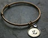 Gold or Sterling bracelet bangle with monogram