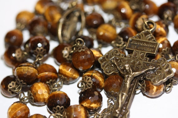 10mm Tiger's Eye Rosary in Bronze with a Pardon Crucifix handmade in Oklahoma