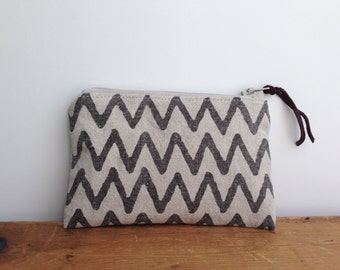 Brown Chevron Linen/Cotton Coin Purse, Small Zipper Pouch, Zipper Coin Purse, Chevron Stripes, Zipper Wallet