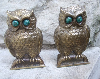 Stylized Burnished Gilt Metal Owl Bookends c 1970
