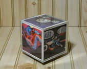 Vintage Plastic Picture Photo Cube Block  1970s Turn Table Lazy Susan Bottom Base