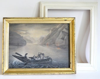 Antique Painting. Vintage Art. Wall Hanging. Shabby Chic Gold Frame & Black, White, Grey Eerie Romantic Boat Ride. Victorian, Gothic,