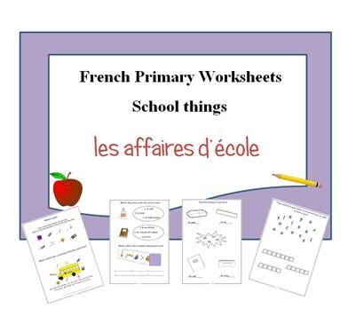 french worksheets kids learning sheets school items kids. Black Bedroom Furniture Sets. Home Design Ideas