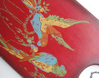 Vintage Painted Wood Plaque Wall Hanging with Parrots