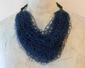 Crochet Leather & Silk Fiber / Thread Chain Chunk Necklace (Navy Blue)