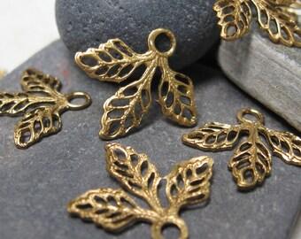 "Vintage  5/8"" Triple Leaf Filigree Brass Findings.  2 dz."