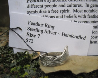 Sale! Feather Ring Sterling Silver Size 7