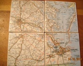 Virginia Coast and Chesapeake Bay, including Virginia Beach, Richmond and surrounding areas - Ceramic Tile Map Coasters -Set of 4
