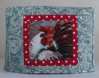 2 Slice Toaster Cover - Rooster Toaster Cover - Aqua and Red
