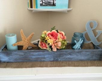 "Rectangular Box, Wedding Centerpiece 30""L box, Baby Blue Cottage Chic Box, Center Piece, Wedding Decor, Wooden Planter Box"