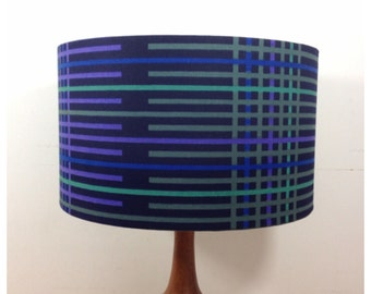 Lamp Shade Handmade From Vintage Blue Graphic Fabric 35cm