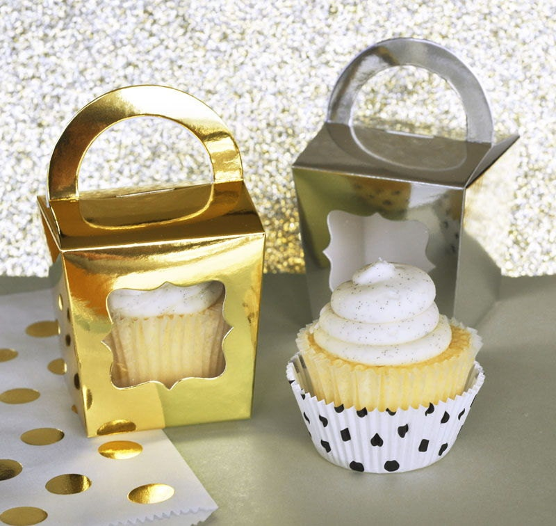 cupcake boxes metallic gold or silver wedding favors birthday. Black Bedroom Furniture Sets. Home Design Ideas