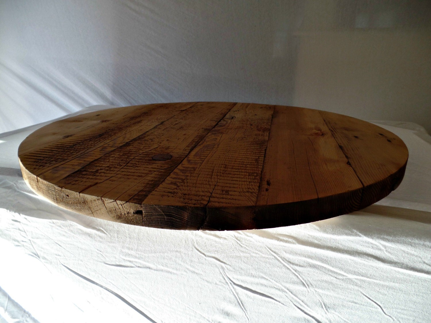 round reclaimed wood table top. Black Bedroom Furniture Sets. Home Design Ideas