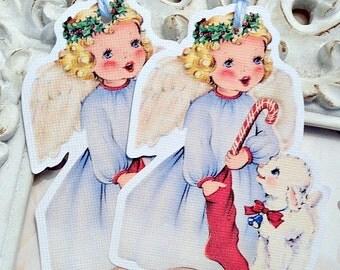 Angel Gift Tag (6) Christmas Angel Tag-Christmas Gift Tag-Favor Tag-Treat Bag Tags-Tags for Girls-Angel Die Cut-Shabby Christmas Tags