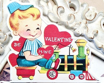Train Valentine Cards (6) Valentine Gift Tags-Classroom Valentine-Retro Valentines for Kids-Tags for Valentines-Vintage Valentine