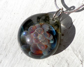 Glass Boro Pendant, Amber Purple Implosion, Lampwork Jewelry Focal Bead, Flamework Hand Blown
