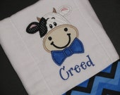 Personalized, appliqued burp cloth with little boy cow with bow tie; farm animal burpie; barnyard animal; cow