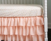 Peach Sherbet Bumperless Crib Bedding