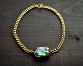 Multi Colored Crystal Chain Necklace