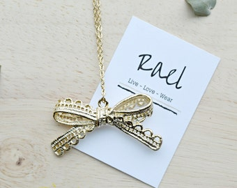 Gold Metal  Bow Necklace / Lace Ribbon Bow / Whimsical Jewelry