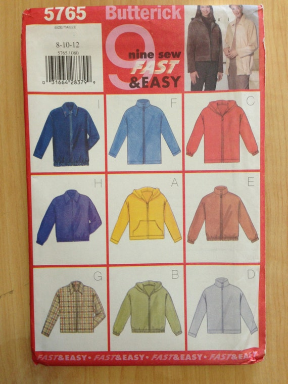 Butterick 90s Sewing Pattern 5765 Misses and Misses Petite Jacket Size 8-12