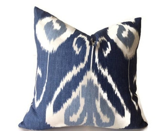 Kravet Blue Ikat Pillow Cover, Blue Pillows, Throw Pillows, Decorative Pillow Cover, Kravet Pillow