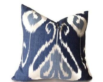Blue Pillows, Blue ikat Pillows, Blue Throw Pillows,  Decorative  Pillow Cover, Blue Pillow,  Kravet Pillow  invisible Zipper Closure