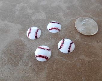 4 pc Baseball Resin Flatback Cabochons