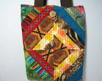 Yarn Project Tote Quilted Tribal Ethnic Fabric,  Library Book Bag, Small Knitting  Crochet Tote Bag