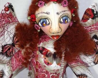 Wall Decor Doll Pink Butterfly Faery Fairy Goddess Wall Cloth Art Doll, Hanging Fae Sprite Angel Doll