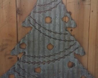 Corrugated Christmas Tree/Vintage/Rustic/Holidays/Winter/Cabin decor/Home decor/Lodge decor